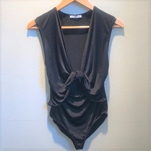 Zara Swimsuit Black Tie Front Keyhole One Piece M